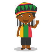 Character from Jamaica dressed in the traditional way with dreadlocks. Vector Illustration. Kids of the World Collection.