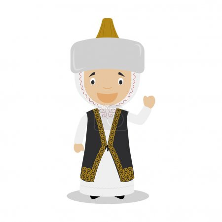Character from Kazakhstan dressed in the traditional way Vector Illustration. Kids of the World Collection.