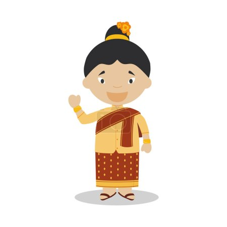 Character from Laos dressed in the traditional way Vector Illustration. Kids of the World Collection.