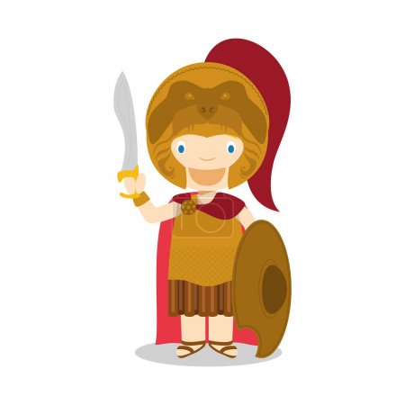 Alexander The Great cartoon character. Vector Illustration. Kids Collection.
