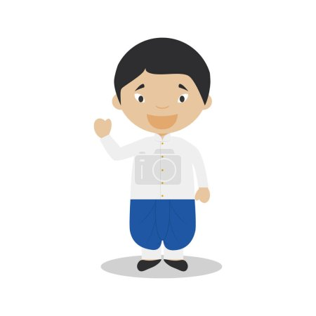 Character from Thailand dressed in the traditional way Vector Illustration. Kids of the World Collection.