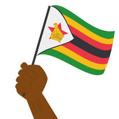 Hand holding and raising the national flag of Zimbabwe