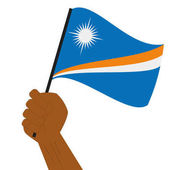 Hand holding and raising the national flag of Marshall Islands