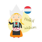 Vector illustration of cartoon characters saying hello and welcome in Dutch