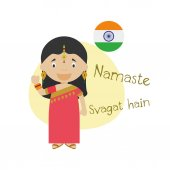 Vector illustration of cartoon characters saying hello and welcome in Hindi