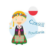 Vector illustration of cartoon characters saying hello and welcome in Polish