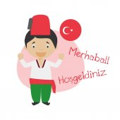 Vector illustration of cartoon characters saying hello and welcome in Turkish