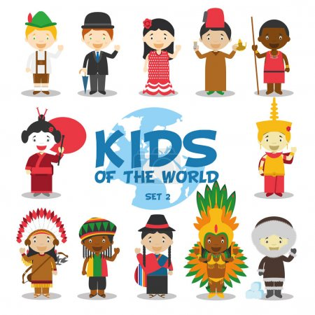 Kids of the world vector illustration: Nationalities Set 2. Set of 12 characters dressed in different national costumes