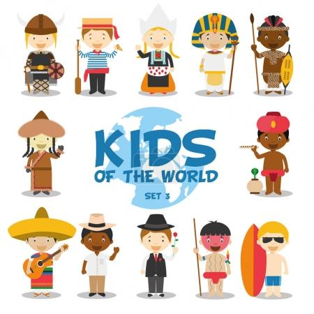Kids of the world vector illustration: Nationalities Set 3. Set of 12 characters dressed in different national costumes