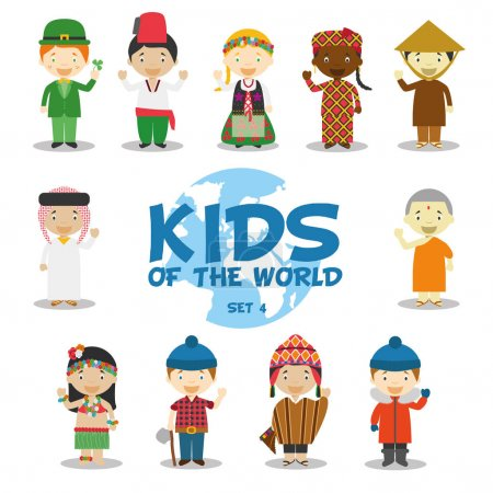 Kids of the world vector illustration: Nationalities Set 4. Set of 11 characters dressed in different national costumes