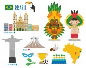Brazil Flat Icon Set Travel and tourism concept Vector illustration