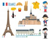 France Flat Icon Set Travel and tourism concept Vector illustration