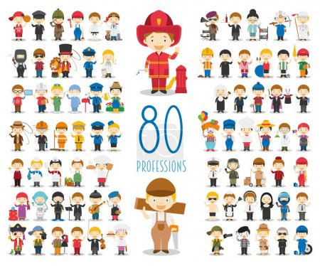 Illustration for Kids Vector Characters Collection: Set of 80 different professions in cartoon style. - Royalty Free Image