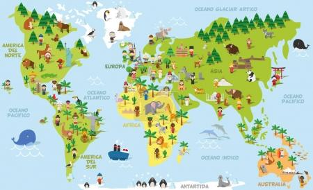 Illustration for Funny cartoon world map with childrens of different nationalities, animals and monuments of all the continents and oceans. Names in spanish. Vector illustration for preschool education and kids design. - Royalty Free Image