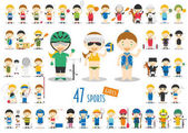 Big Set of 47 cute cartoon sport characters for kids Funny cartoon girls Olympics Sports vector illustrations