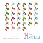 Set of 34 flags of America Hand raising the national flags of 34 countries of America Icon set Vector Illustration