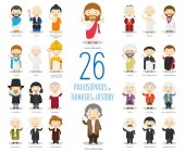Kids Vector Characters Collection: Set of 26 Great Philosophers and Thinkers of History in cartoon style