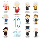 Kids Vector Characters Collection: Set of 10 Great Musicians of History in cartoon style