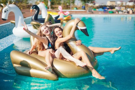 Photo for Happy girls on summer party in the pool - Royalty Free Image
