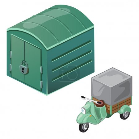 Green scooter with tent and closed garage