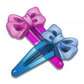 Blue and pink women hair clip with bow