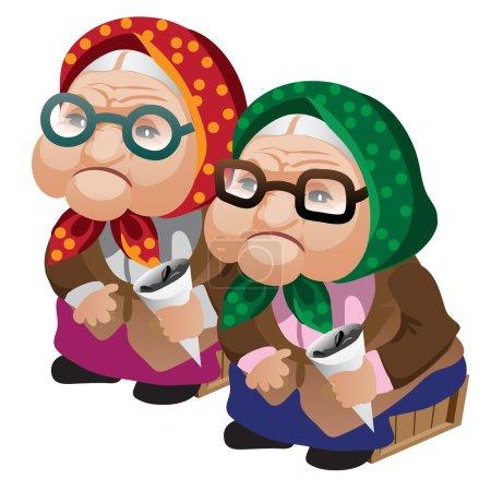 zwei alte Frauen in Gläsern sitzen mit Samen