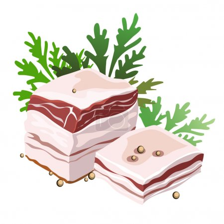 Piece of pork fat with spices and herbs, vector