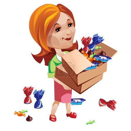 Woman buyer holding box with sweets. Vector