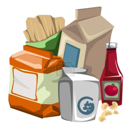 Set of grocery products the consumer. Vector
