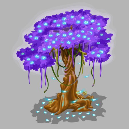 Illustration pour Arbre fantastique avec feuillage couronne violette et feuilles tombantes bleues. Illustration vectorielle - image libre de droit