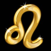 Gold figure of the zodiac sign Leo on black background Vector illustratioin signs of the zodiac series