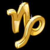 Golden figure of zodiac sign Capricorn on black background Vector illustratioin signs of zodiac series