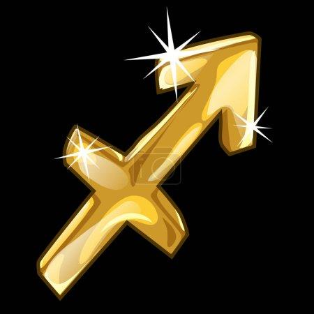 Golden zodiac sign Sagittarius on black background
