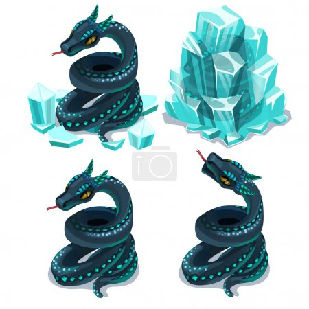 Illustration for Frozen in ice and thawed snake, four vector images on white background. Illustration isolated - Royalty Free Image