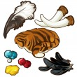 Trophies of hunter and few gems. Vector set on whi...