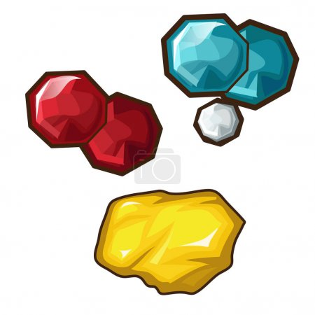 Yellow, red and blue precious stone. Vector