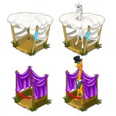 Stylish giraffes in tuxedo comfortable house for animals Cozy cage in circus or zoo Vector illustration on a white background