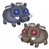 Handmade soft toy boar Vector animal