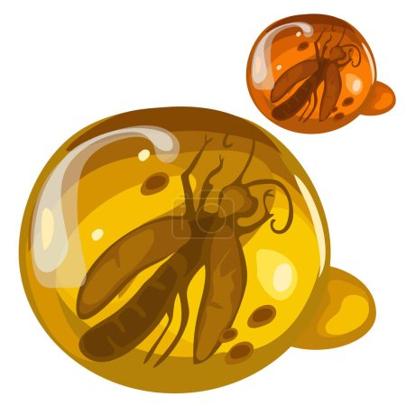 Ancient insect frozen in amber, rare decoration