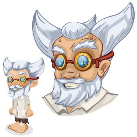 Older male scientist professor, cartoon people