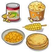 Set of corn tortillas bank popcorn and cereal Cartoon style Vector food illustration on a white background for your design needs