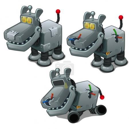 Illustration pour Ensemble de cyborgs chiens de fer. Vecteur isolé sur fond blanc - image libre de droit