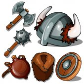 Ancient clothes and weapons of Vikings Mace axe helmet with horns flask fur coat and tambourine Six icons isolated on white background Vector illustration in cartoon style