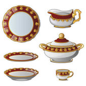 Ancient decorative set of dishes Collection of plates tureens cups and a jug for cream Vector illustration isolated on white background