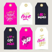 Set of gift tags with rough brush calligraphy for Valentine's Da