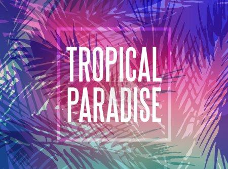 Illustration pour Fond paradisiaque tropical avec feuilles de palmier au coucher du soleil - image libre de droit