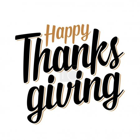 Illustration for Thanksgiving day. Lettered text isolated on white background. Vector vintage illustration. - Royalty Free Image
