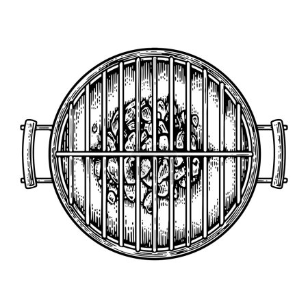 Barbecue grill top view with charcoal.