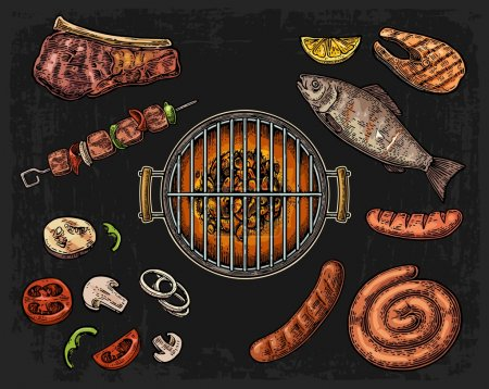 Illustration for Barbecue grill top view with charcoal, mushroom, tomato, pepper, sausage, lemon, fish and beef steak. Lettered text BBQ MENU. Vintage color vector engraving illustration. Isolated on dark background - Royalty Free Image