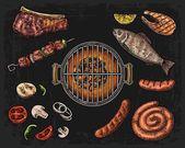 """Постер, картина, фотообои """"Барбекю гриль вид сверху с углем, грибы, помидор, перец, колбаса, лимон, рыба и говядины Стейк. Шаблон меню ресторан Продовольственная"""""""